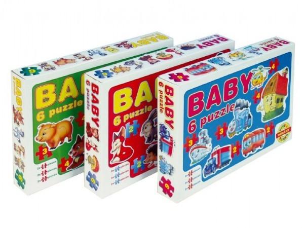 Teddies Baby puzzle asst 6 druhov 18 dielikov v krabici 35,5x24x5cm
