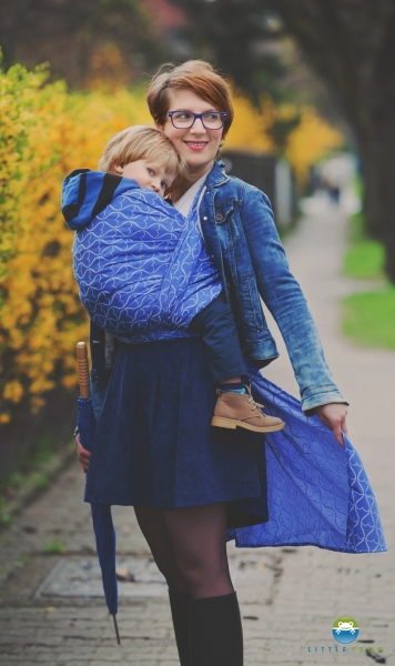 Little FROG Žakárová tkaná šatka na nosenie detí -  Blue Hourglasses