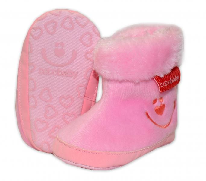 Zimné topánočky BOBO BABY s kožušinkou - Macko - sv. ružové