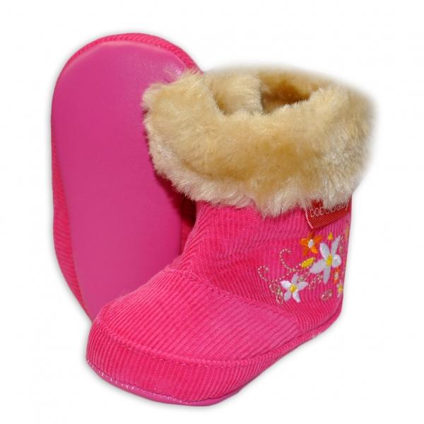 Menčestrové zimné topánočky BOBO BABY s kožušinkou - Kvetinky - tm. ružové-12/18měsíců