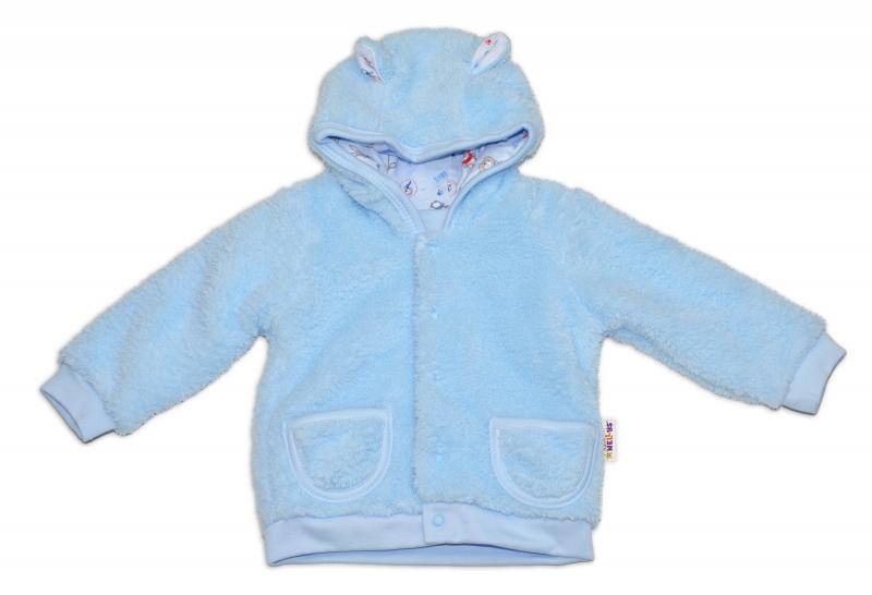 Chlupáčkový kabátik, mikinka Baby Nellys ® - modrý - veľ. 86-86 (12-18m)
