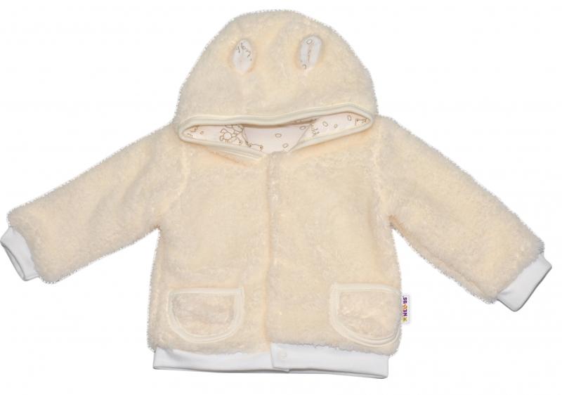 Chlupáčkový kabátik, mikinka Baby Nellys ® - smotanový - veľ. 86-86 (12-18m)