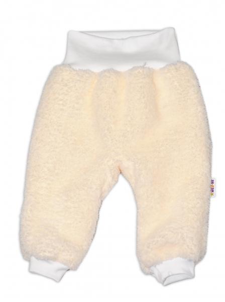 Chlupáčkové nohavice, tepláčky Baby Nellys ® - smotanové - veľ. 68