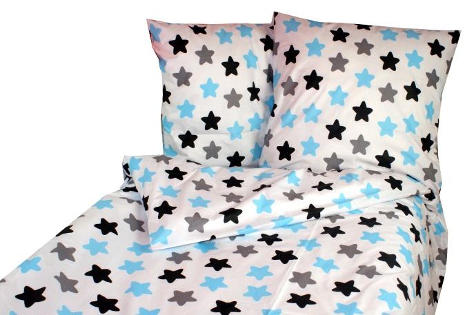 Bavlnené obliečky 140 x 200 - farebné hviezdičky - modré