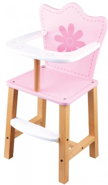 Drevená jedálenská stolička pre bábiky - Kvetinka - ružová