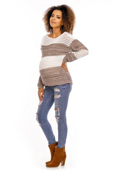 Tehotenský pulóver ažúrový DUET melírovaný - hnedý