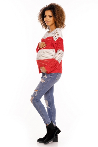 Tehotenský pulóver ažúrový DUET melírovaný - červený
