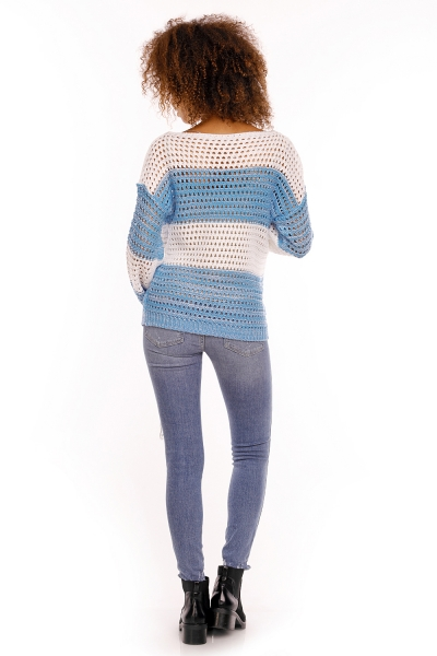 Tehotenský pulóver ažúrový DUET melírovaný - modrá jeans