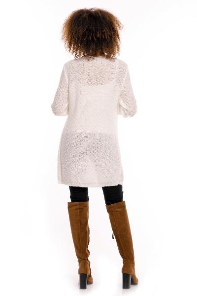 Dlhý perličkový svetrík PENY melírovaný - biely