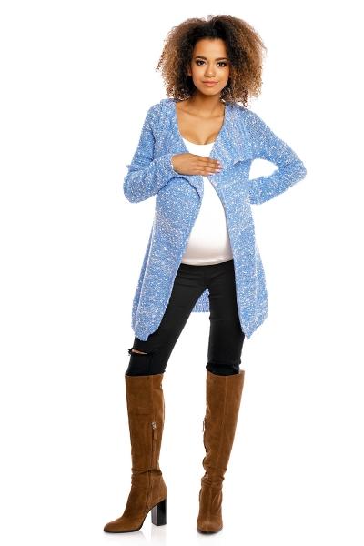 Dlhý perličkový svetrík PENY melírkovaný - modrý