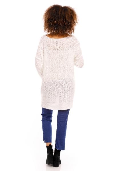Perličkový tunikový pulóver LORY melírkovaný - biely
