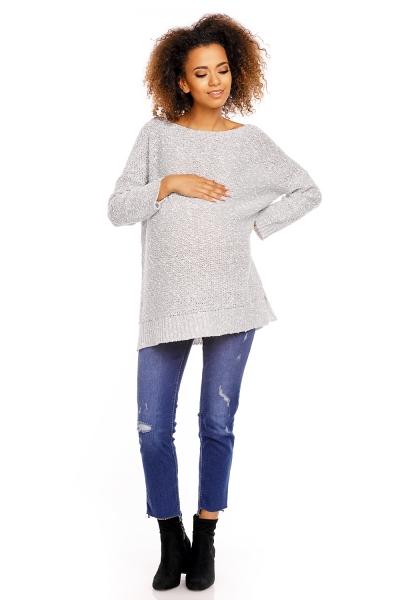 Perličkový pulóver/tunika LORY melírovaný - sivý