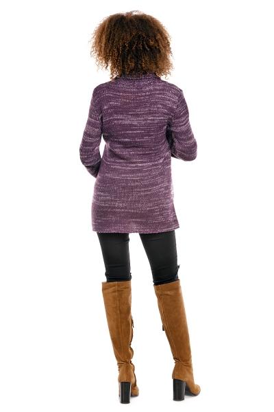 Pletený zavinovaci svetrik MAMI melírkovaný - fialový