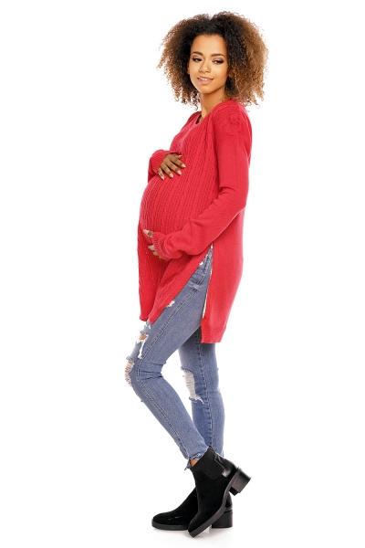 Tehotenský pulóver vhodné aj na dojčenie MAMI - červený