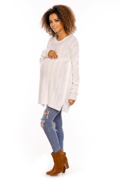 Tehotenský pulóver MAMI - biela
