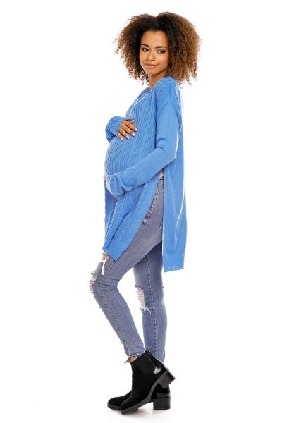 Tehotenský pulóver MAMI - modrá