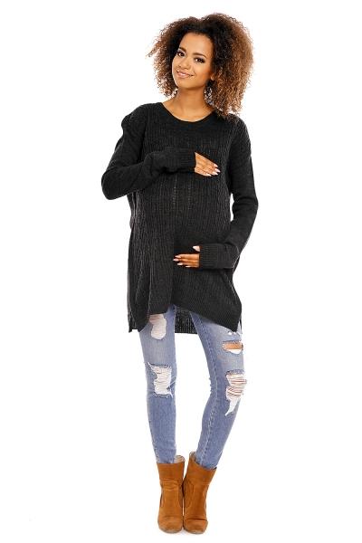 Tehotenský pulóver MAMI - čierny