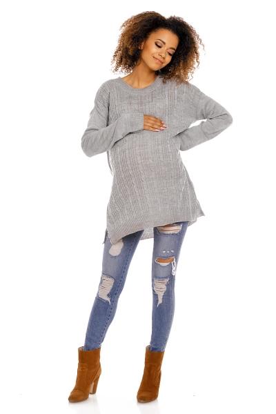 Tehotenský pulóver vhodné aj na dojčenie MAMI - sivý