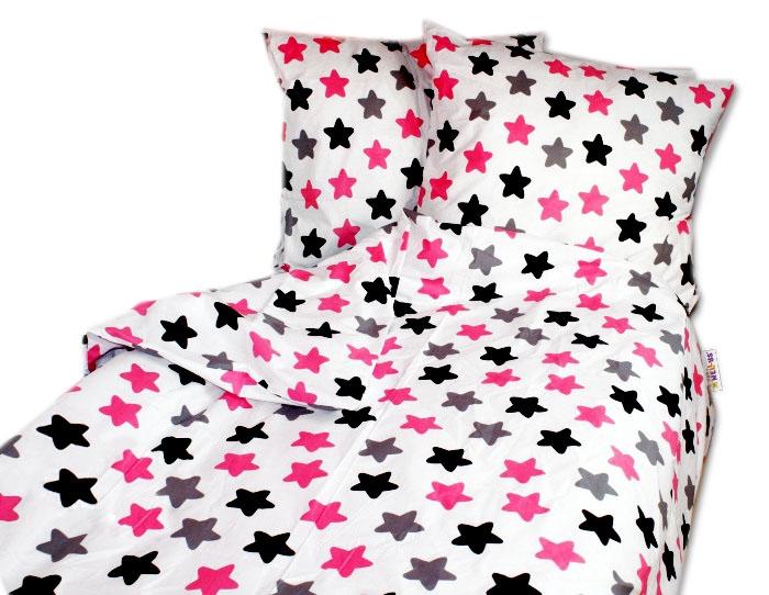 Bavlnené obliečky Baby Nellys ® 140 x 200 - farebné hviezdičky - ružové