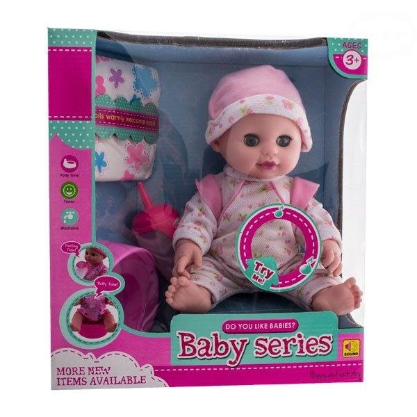Bábika, bábätko cikajúci a pijúci - ružová