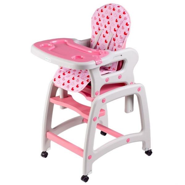 Jedálenský stolček, hojdačka ECO TOYS 3v1 - ružový