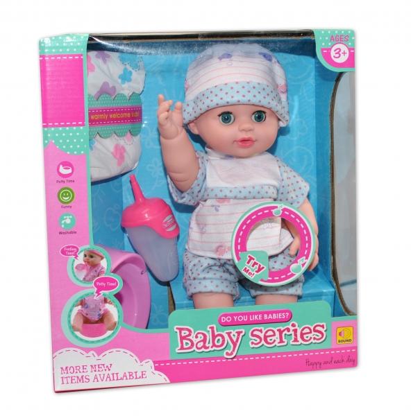 Bábika, bábätko cikajúci a pijúci - modrá