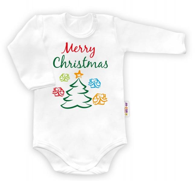 Baby Nellys Body dlouhý rukáv vel. 62, Merry Christmas  - biele-62 (2-3m)