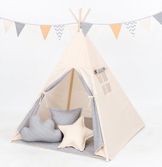 Stan pre deti teepee, típí bez výbavy - béžový / mini hviezdičky biele na šedom