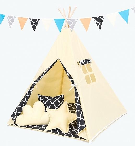 Stan pre deti teepee, típí bez výbavy - citrónový / maroko čierne