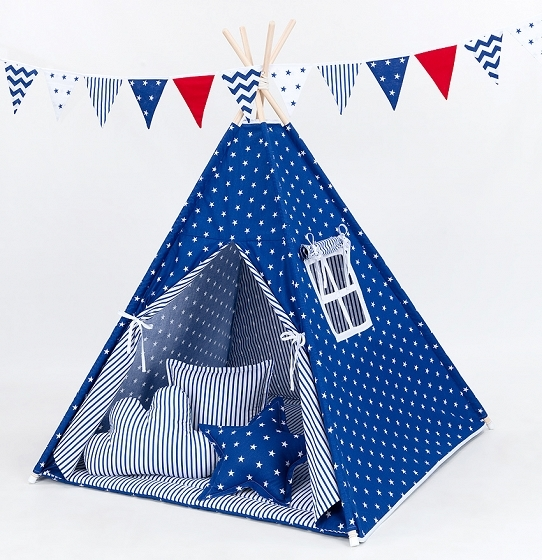 Stan pre deti teepee, típí bez výbavy - Hviezdičky biele na modrom / modré prúžky