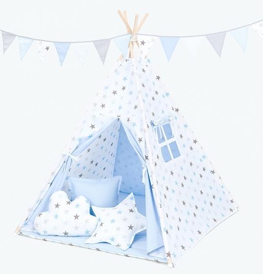Mamo Tato Stan pre deti teepee, típí bez výbavy - Hviezdy šedé a modré / svetlo modrý