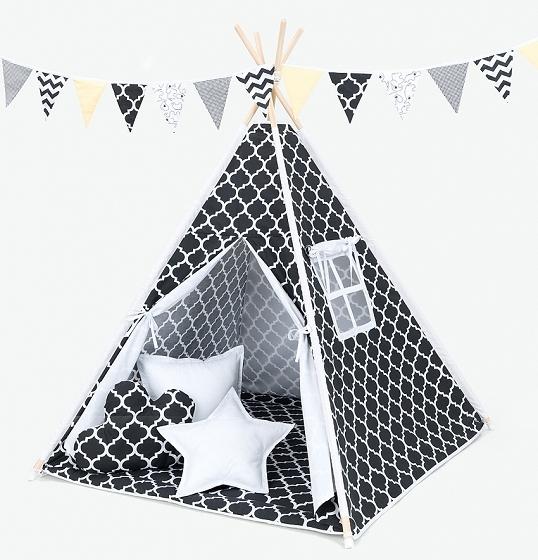 Stan pre deti teepee, típí bez výbavy - maroko čierne / biely