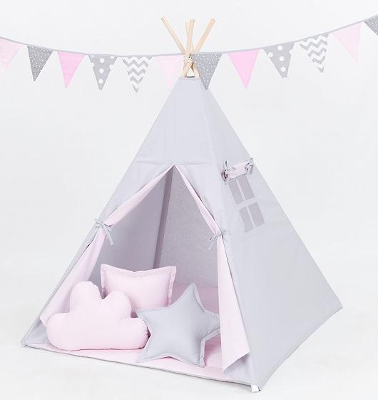 Stan pre deti teepee, típí bez výbavy - sivý / svetlo ružový