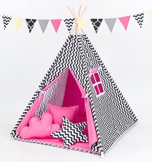 Stan pre deti teepee, típí bez výbavy - cikcak čierny / tmavo ružový