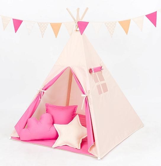 Mamo Tato Stan pre deti teepee, típí s Výbavou - béžový/ tmavo ružový