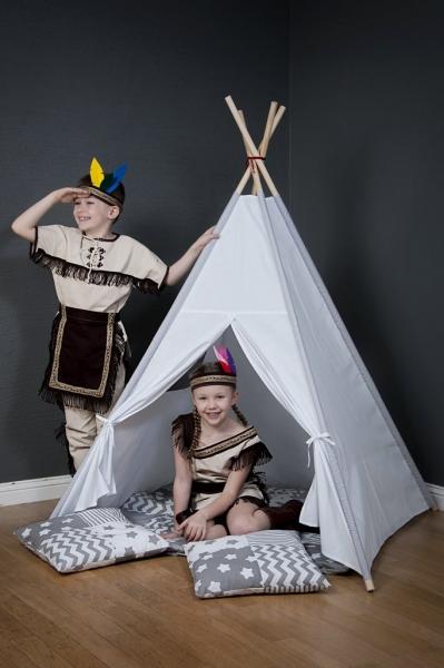Mamo Tato Stan pre deti teepee, típí s výbavou - béžový/mini hviezdičky biele na šedom