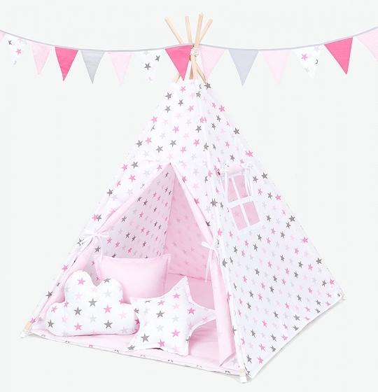 Mamo Tato Stan pre deti teepee, típí s výbavou - Hviezdy šedé a ružové/svetlo ružový