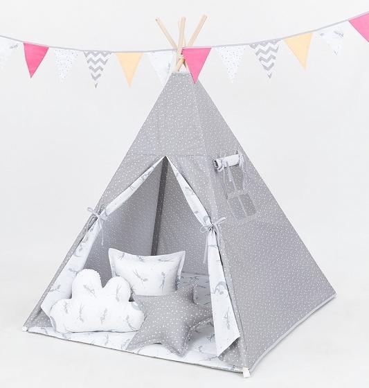 Mamo Tato Stan pre deti teepee, típí s výbavou - mini hviezdičky biele na šedom/ víly sivé