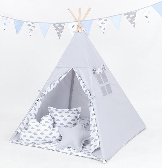 Mamo Tato Stan pre deti teepee, típí s výbavou - sivý/mráčky sivé na bielom