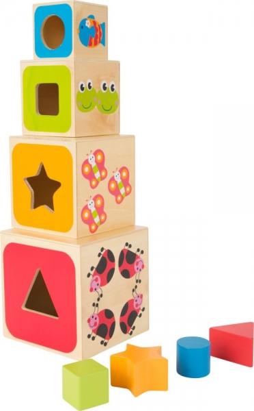 Drevená veža z kociek - ABC