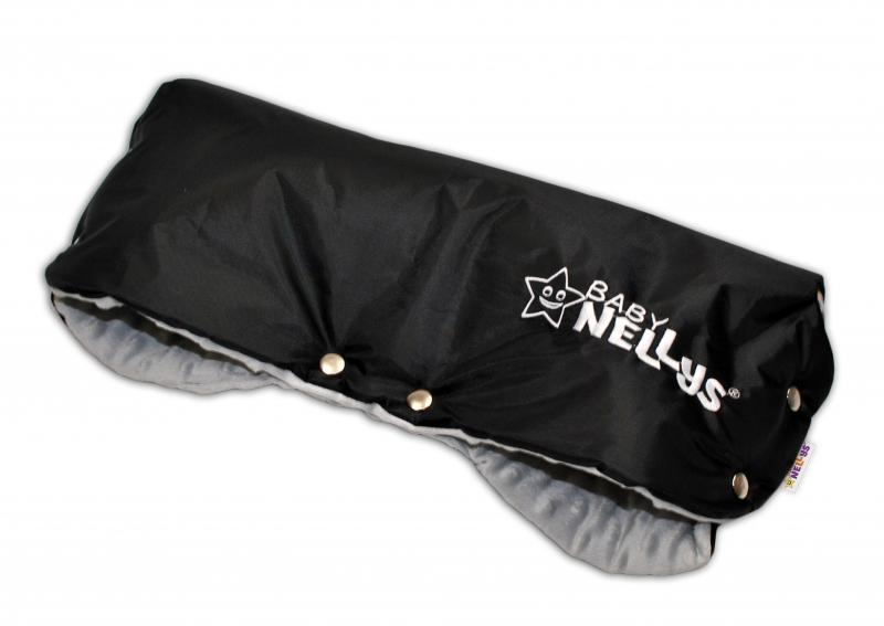 Rukávnik ku kočíku Baby Nellys ® Minky - sv. sivá/čierny