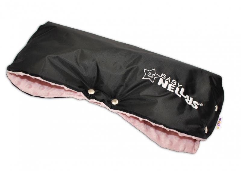 Rukávnik ku kočíku Baby Nellys ® Minky - sv. ružová/čierny