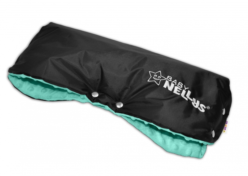 Rukávnik ku kočíku Baby Nellys ® Minky - mäta/čierny