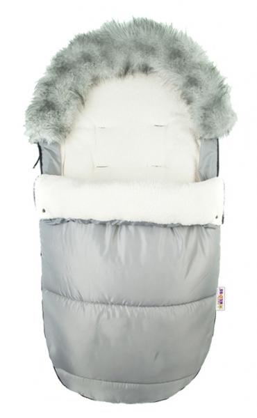 Fusak Deluxe Baby Nellys ® s kožušinou 105x50cm - sivý