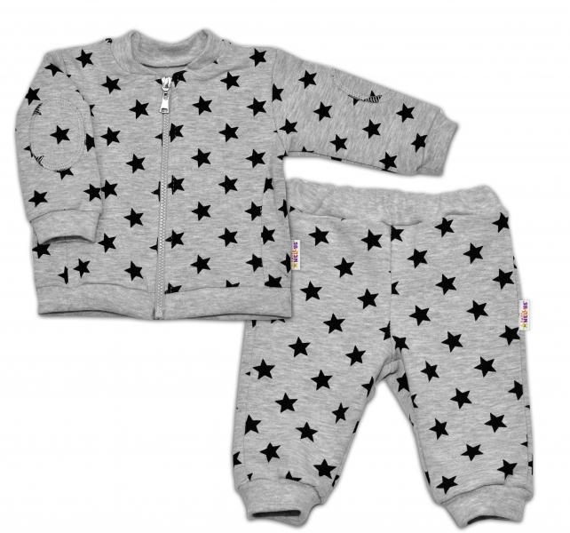 Bavlnená tepláková súprava Baby Nellys ® - Hviezdy čierne/sivá - veľ. 68