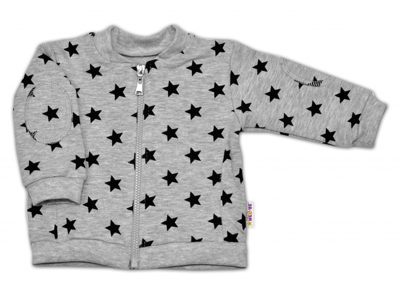 Bavlnená tepláková súprava Baby Nellys ® - Hviezdy čierne/sivá - veľ. 86