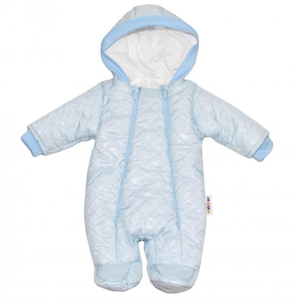 Kombinézka s kapucňu Lux Baby Nellys ®prošívaná - sv. modrá-74 (6-9m)