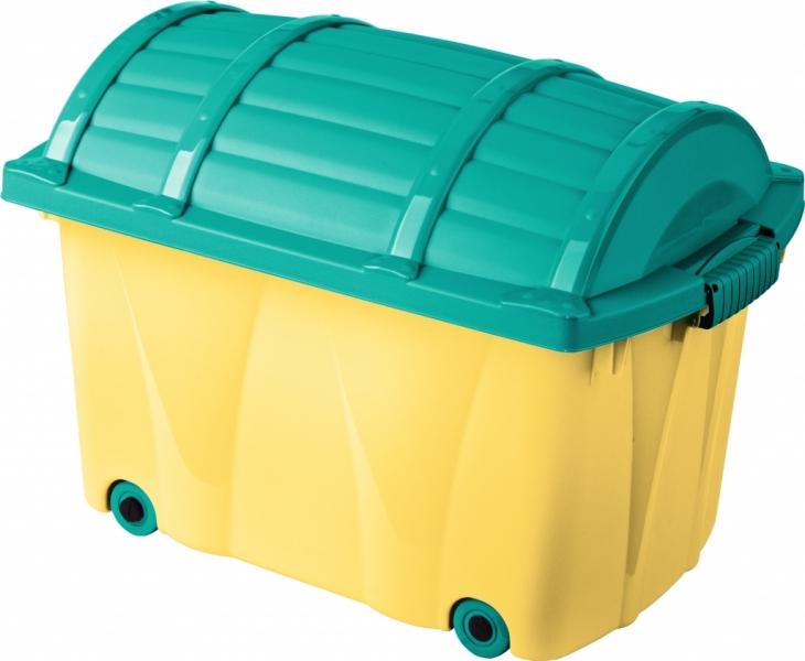 Plastový box na kolieskach - 42l - žltý