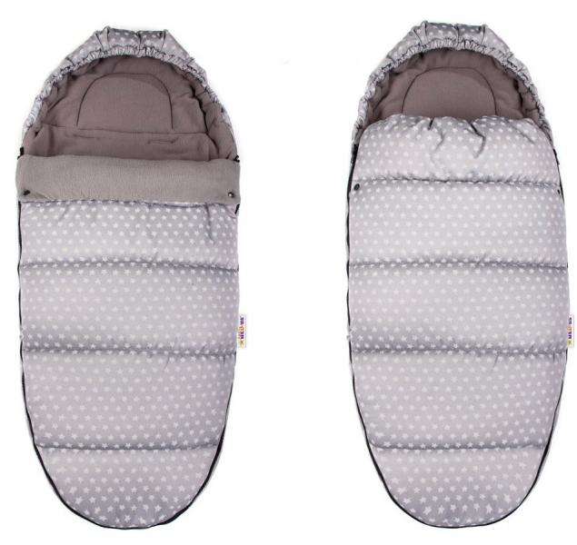 Fusák Maxi Baby Nellys ® 105x50cm -  hviezdičky Stars - svetlo šedé