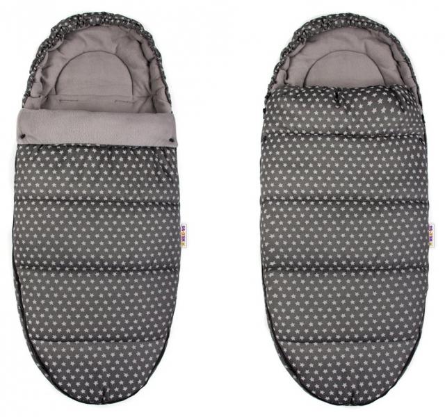 Fusák Maxi Baby Nellys ® 105x50cm -  hvězdičky Stars - světle šedé